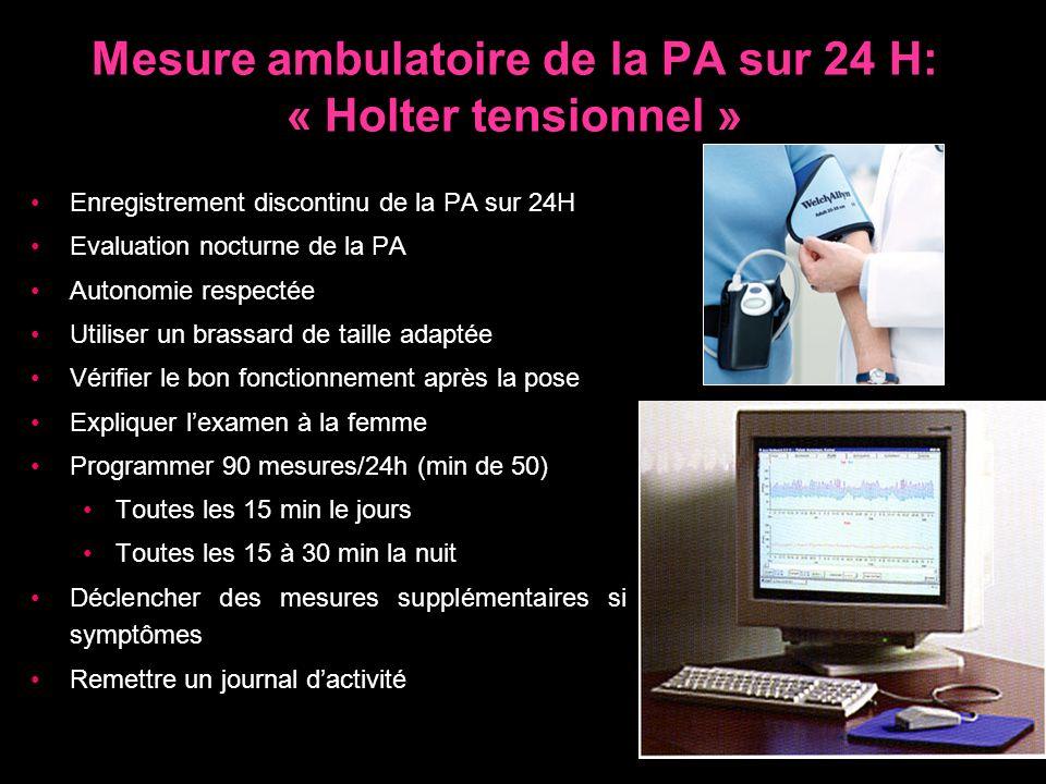 Mesure ambulatoire de la PA sur 24 H: « Holter tensionnel » Enregistrement discontinu de la PA sur 24H Evaluation nocturne de la PA Autonomie respecté