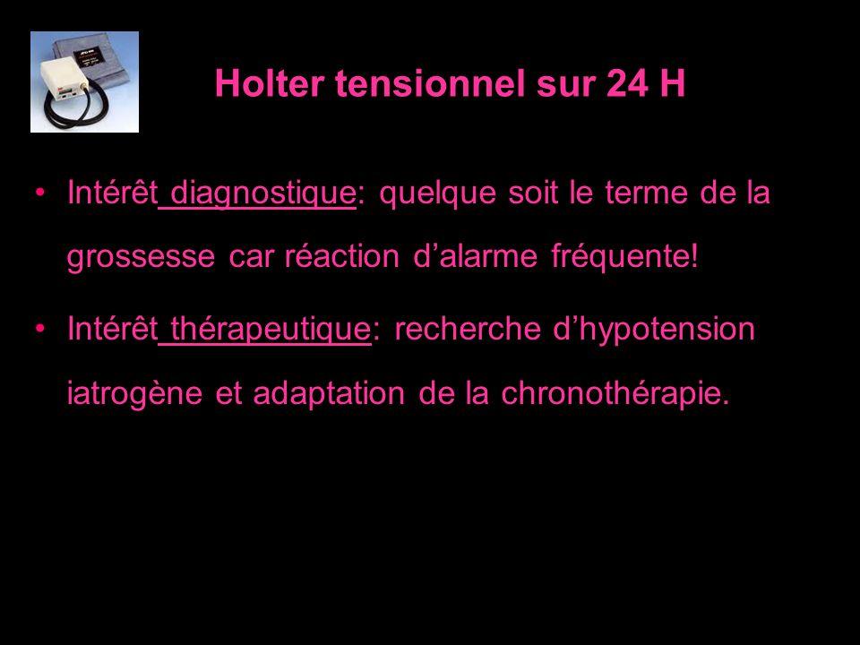 Holter tensionnel sur 24 H Intérêt diagnostique: quelque soit le terme de la grossesse car réaction dalarme fréquente! Intérêt thérapeutique: recherch