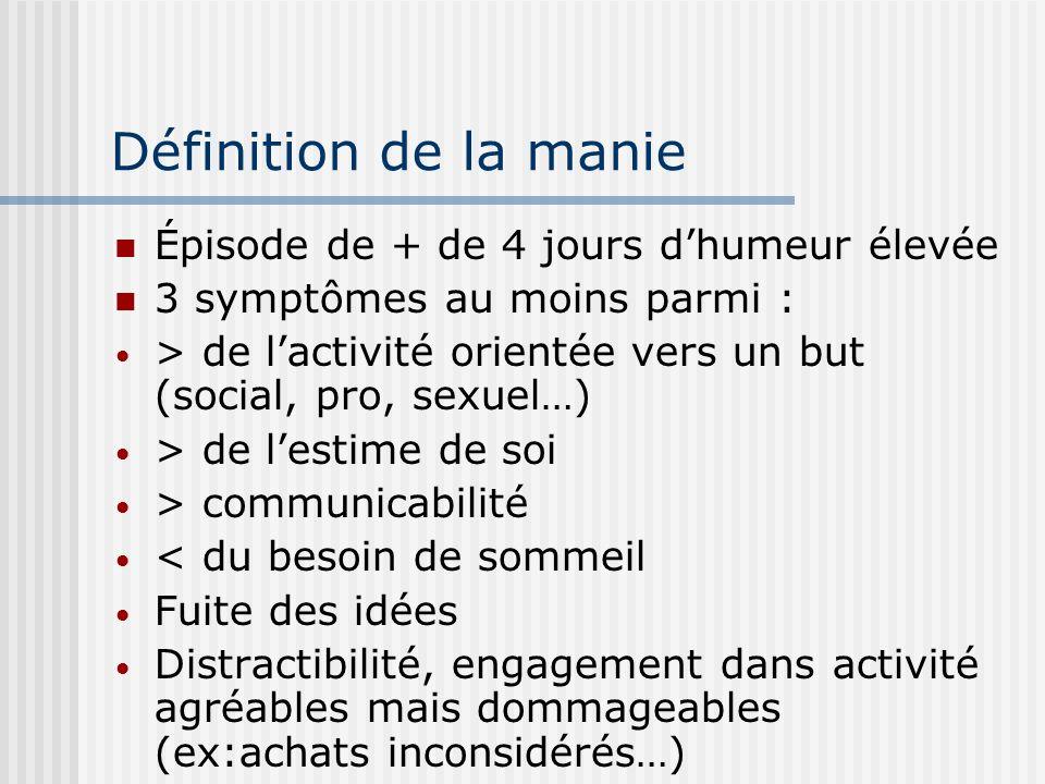 Définition de la manie Épisode de + de 4 jours dhumeur élevée 3 symptômes au moins parmi : > de lactivité orientée vers un but (social, pro, sexuel…)