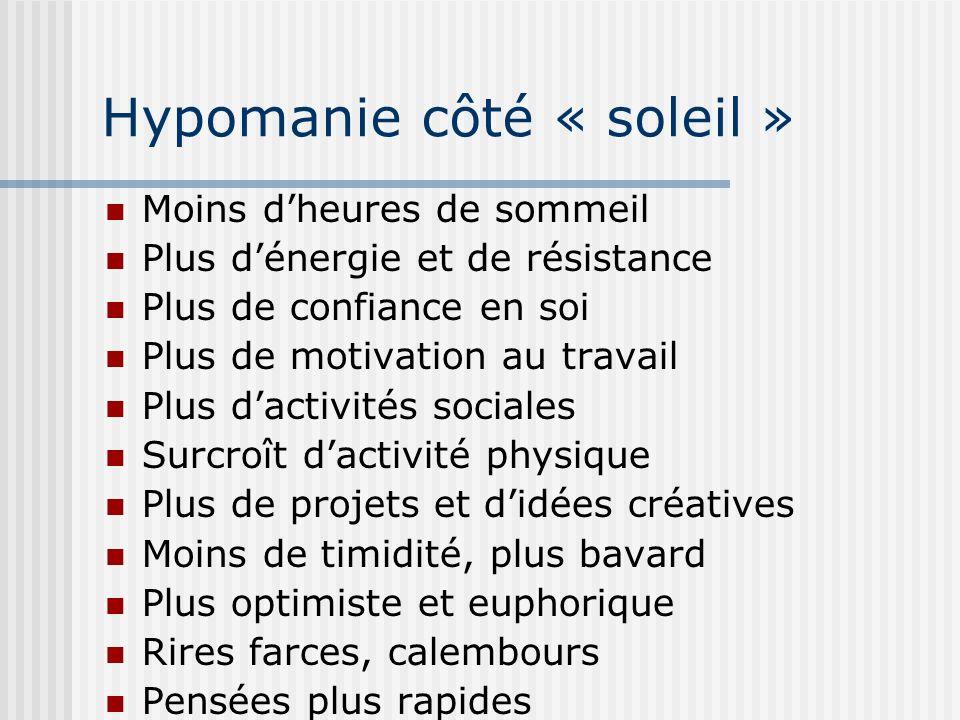 Hypomanie côté « soleil » Moins dheures de sommeil Plus dénergie et de résistance Plus de confiance en soi Plus de motivation au travail Plus dactivit
