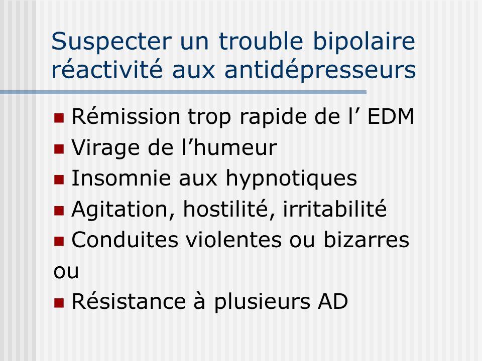 Suspecter un trouble bipolaire réactivité aux antidépresseurs Rémission trop rapide de l EDM Virage de lhumeur Insomnie aux hypnotiques Agitation, hos