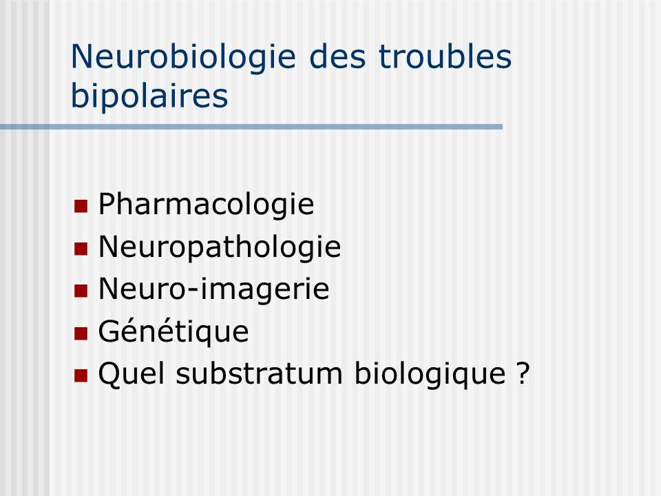 Neurobiologie des troubles bipolaires Pharmacologie Neuropathologie Neuro-imagerie Génétique Quel substratum biologique ?