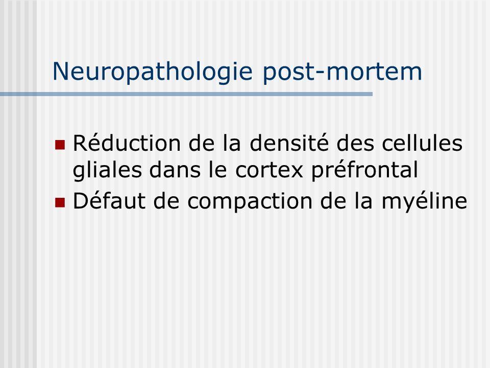 Neuropathologie post-mortem Réduction de la densité des cellules gliales dans le cortex préfrontal Défaut de compaction de la myéline