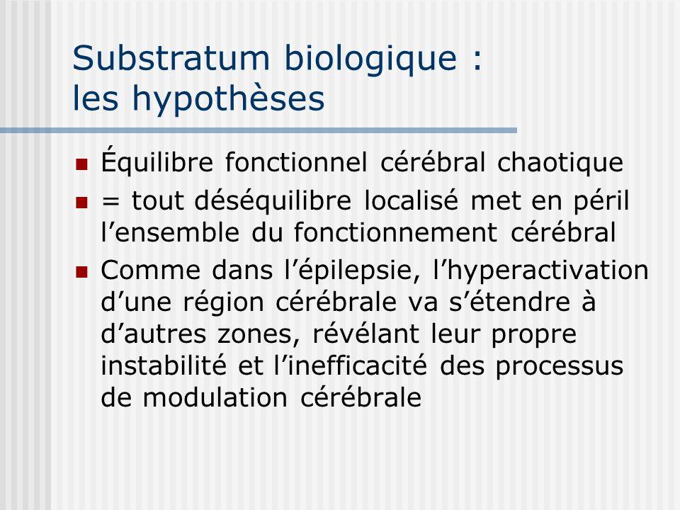 Substratum biologique : les hypothèses Équilibre fonctionnel cérébral chaotique = tout déséquilibre localisé met en péril lensemble du fonctionnement