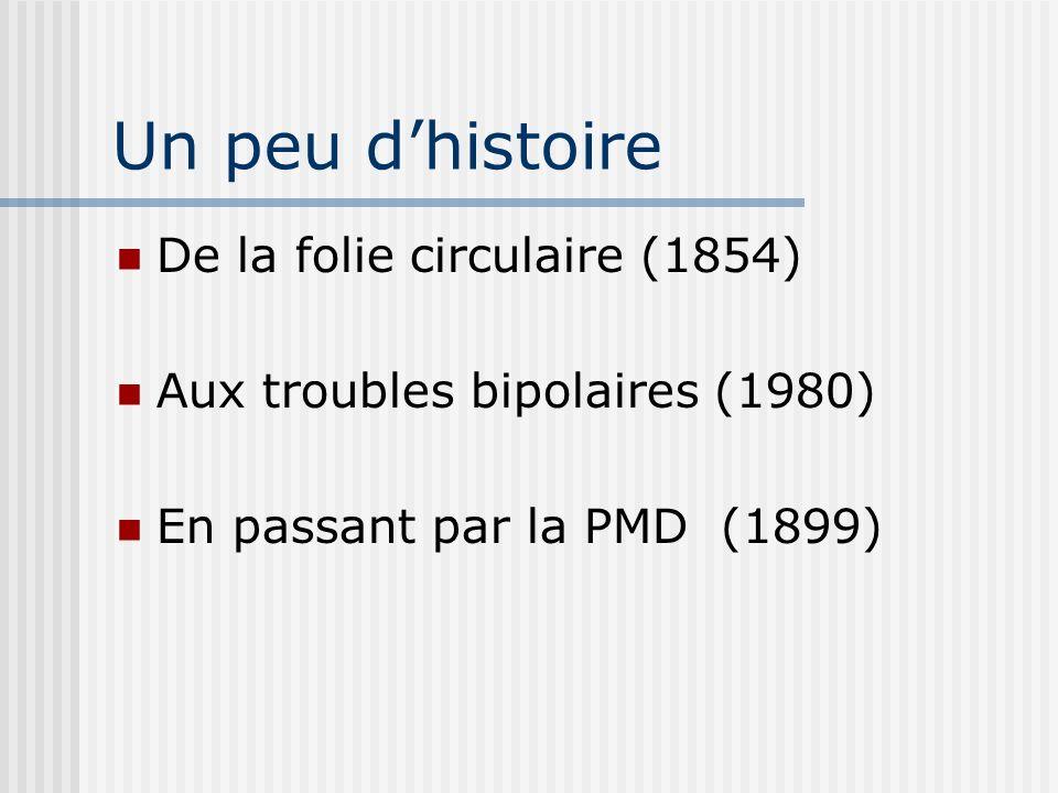Un peu dhistoire De la folie circulaire (1854) Aux troubles bipolaires (1980) En passant par la PMD (1899)