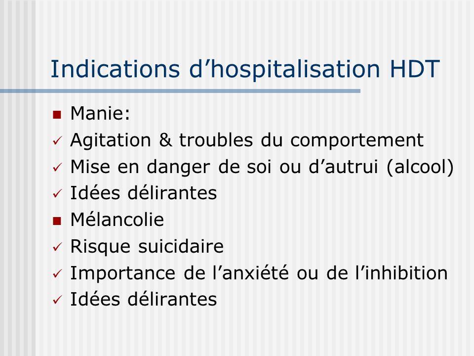 Indications dhospitalisation HDT Manie: Agitation & troubles du comportement Mise en danger de soi ou dautrui (alcool) Idées délirantes Mélancolie Ris
