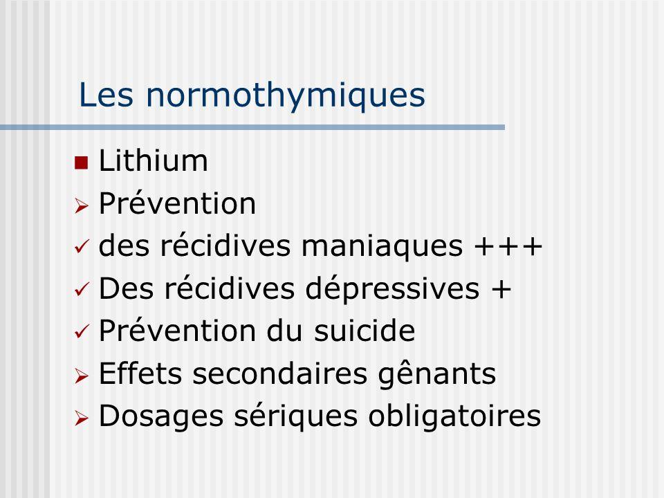Les normothymiques Lithium Prévention des récidives maniaques +++ Des récidives dépressives + Prévention du suicide Effets secondaires gênants Dosages