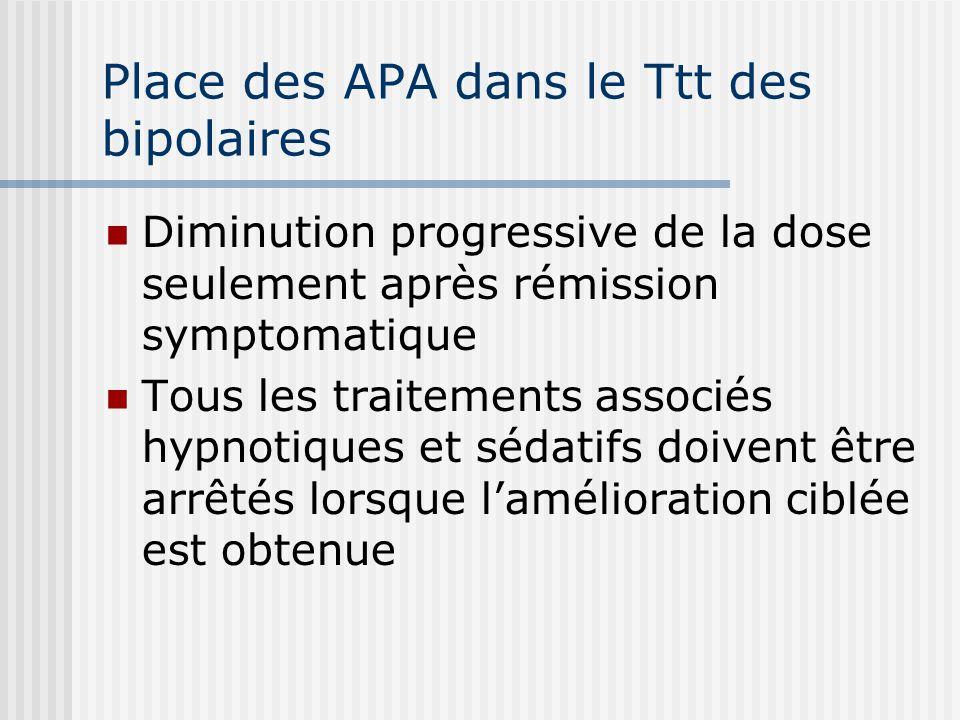 Place des APA dans le Ttt des bipolaires Diminution progressive de la dose seulement après rémission symptomatique Tous les traitements associés hypno