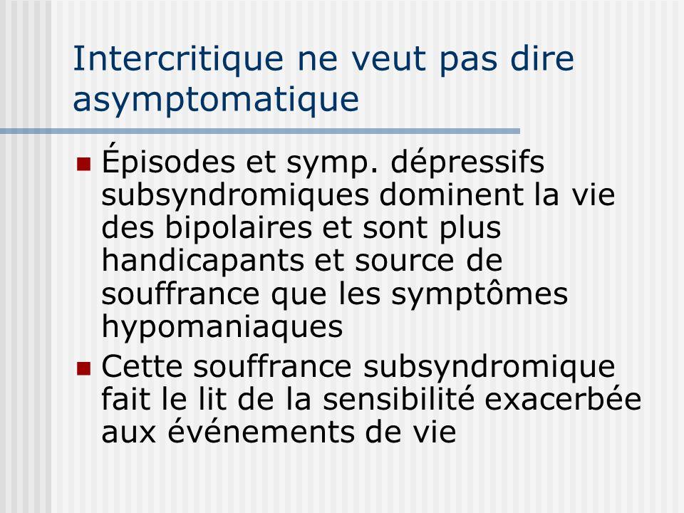 Intercritique ne veut pas dire asymptomatique Épisodes et symp. dépressifs subsyndromiques dominent la vie des bipolaires et sont plus handicapants et
