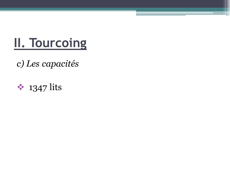 II. Tourcoing c) Les capacités 1347 lits