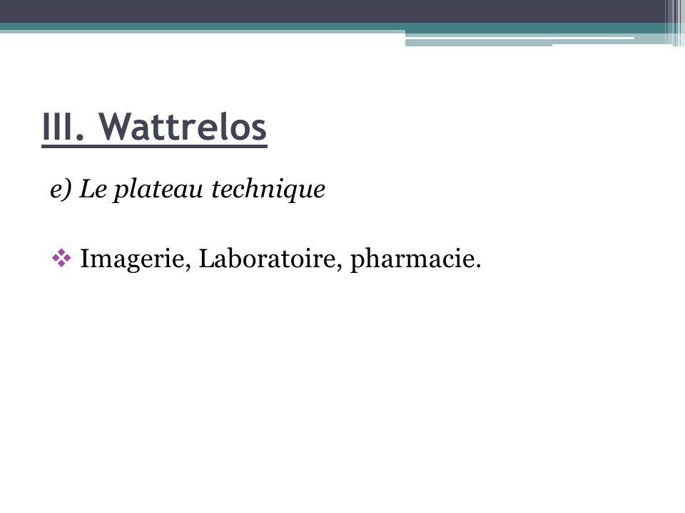 III. Wattrelos e) Le plateau technique Imagerie, Laboratoire, pharmacie.