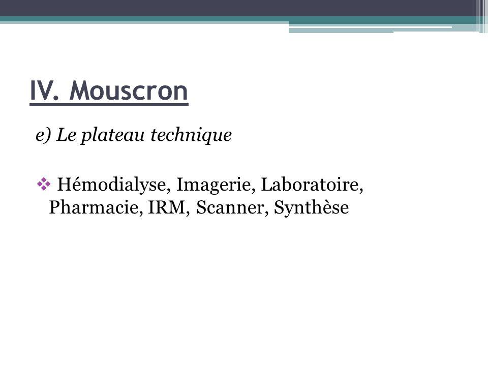 IV. Mouscron e) Le plateau technique Hémodialyse, Imagerie, Laboratoire, Pharmacie, IRM, Scanner, Synthèse