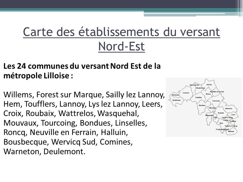Carte des établissements du versant Nord-Est Les 24 communes du versant Nord Est de la métropole Lilloise : Willems, Forest sur Marque, Sailly lez Lan