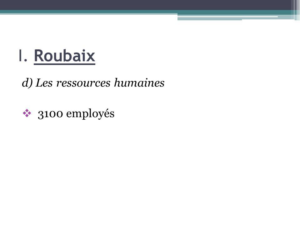 I. Roubaix d) Les ressources humaines 3100 employés