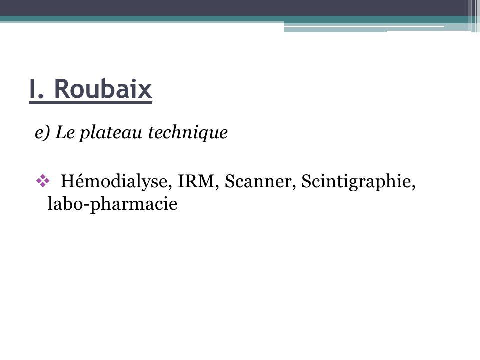 I. Roubaix e) Le plateau technique Hémodialyse, IRM, Scanner, Scintigraphie, labo-pharmacie