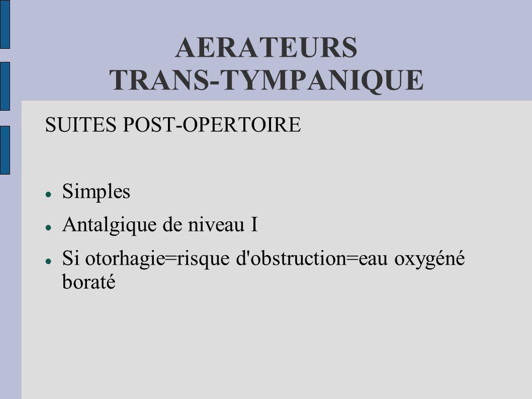 AERATEURS TRANS-TYMPANIQUE SUITES POST-OPERTOIRE Simples Antalgique de niveau I Si otorhagie=risque d'obstruction=eau oxygéné boraté