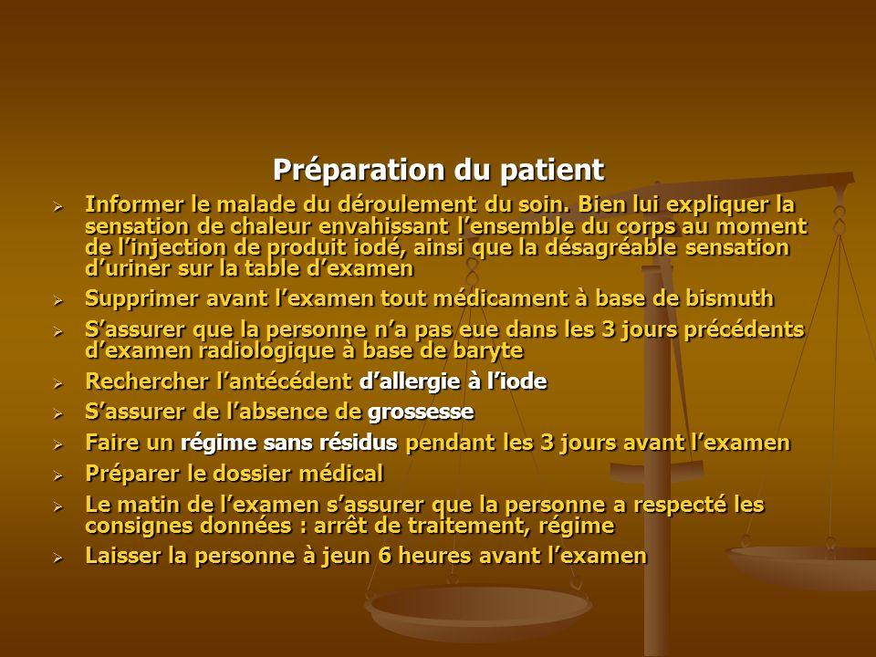 Préparation du patient Informer le malade du déroulement du soin. Bien lui expliquer la sensation de chaleur envahissant lensemble du corps au moment