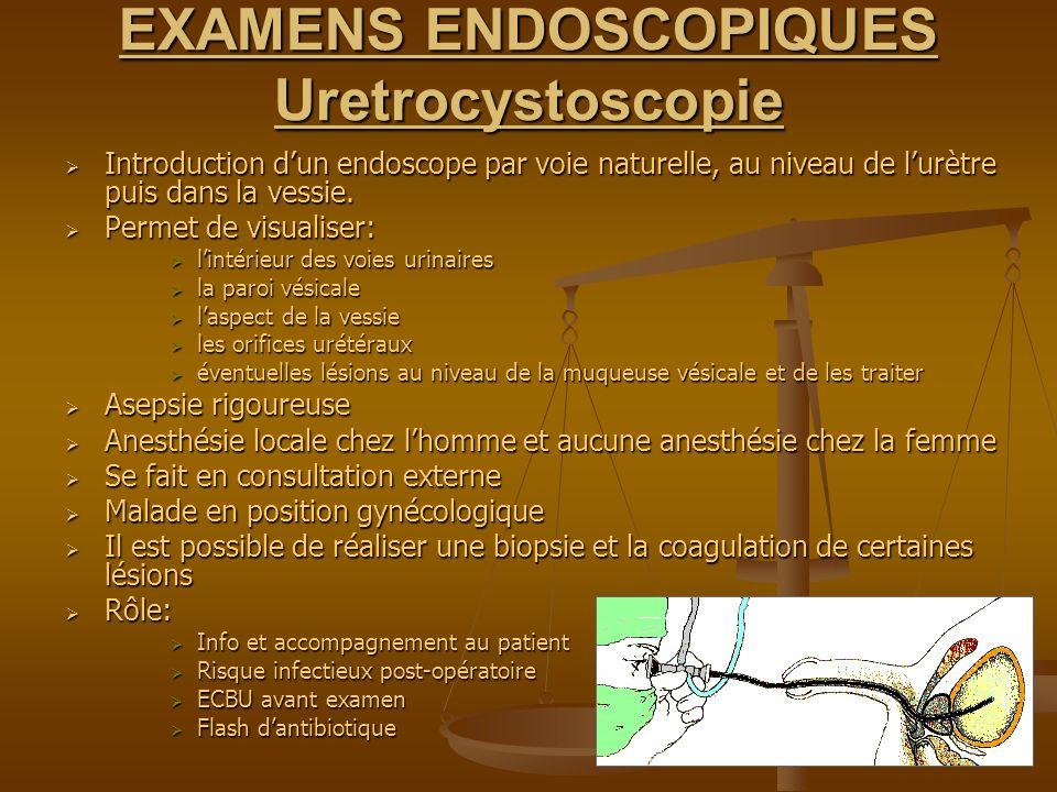 EXAMENS ENDOSCOPIQUES Uretrocystoscopie Introduction dun endoscope par voie naturelle, au niveau de lurètre puis dans la vessie. Introduction dun endo