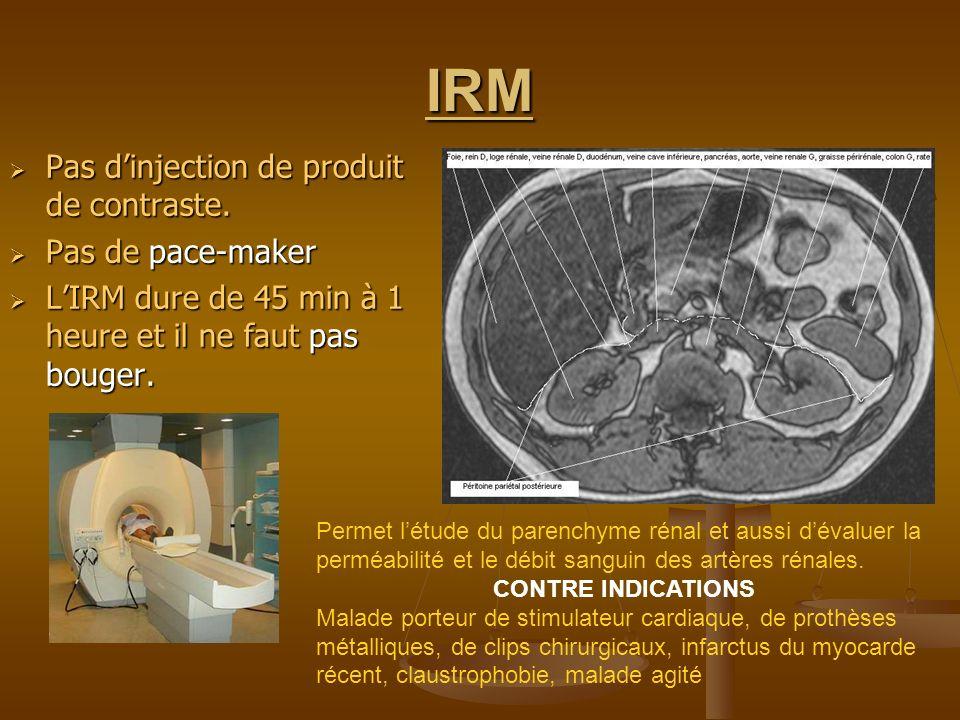 IRM Pas dinjection de produit de contraste. Pas dinjection de produit de contraste. Pas de pace-maker Pas de pace-maker LIRM dure de 45 min à 1 heure