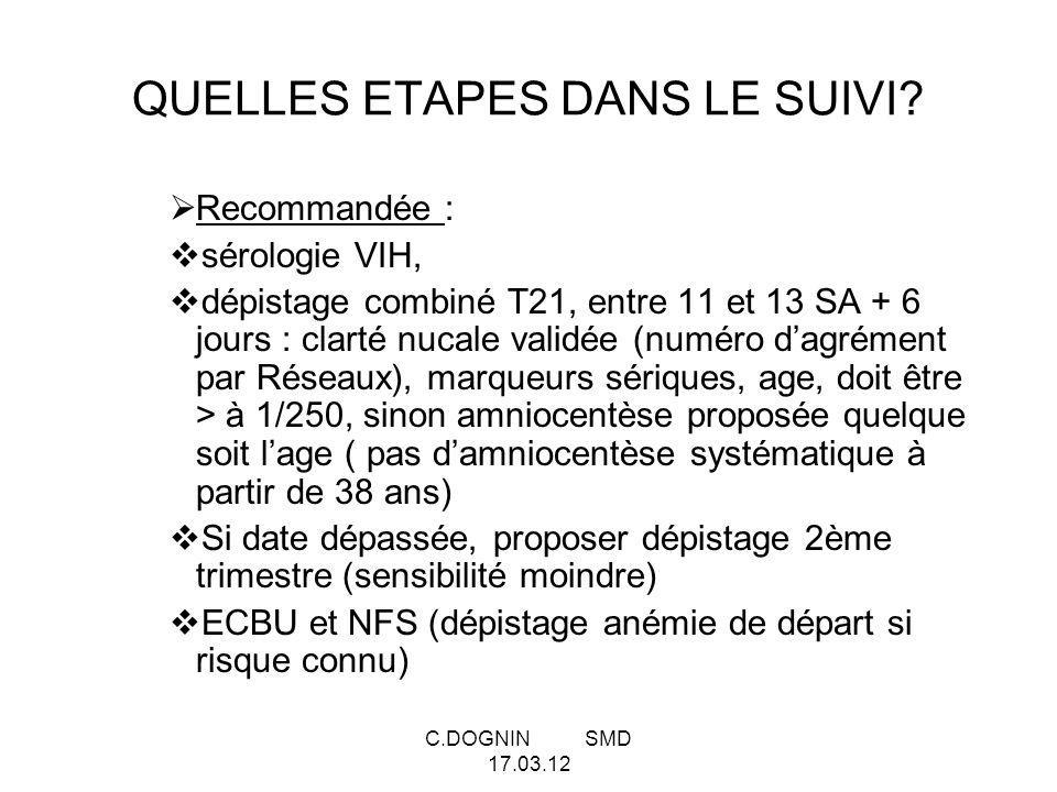 C.DOGNIN SMD 17.03.12 QUELLES ETAPES DANS LE SUIVI? Recommandée : sérologie VIH, dépistage combiné T21, entre 11 et 13 SA + 6 jours : clarté nucale va