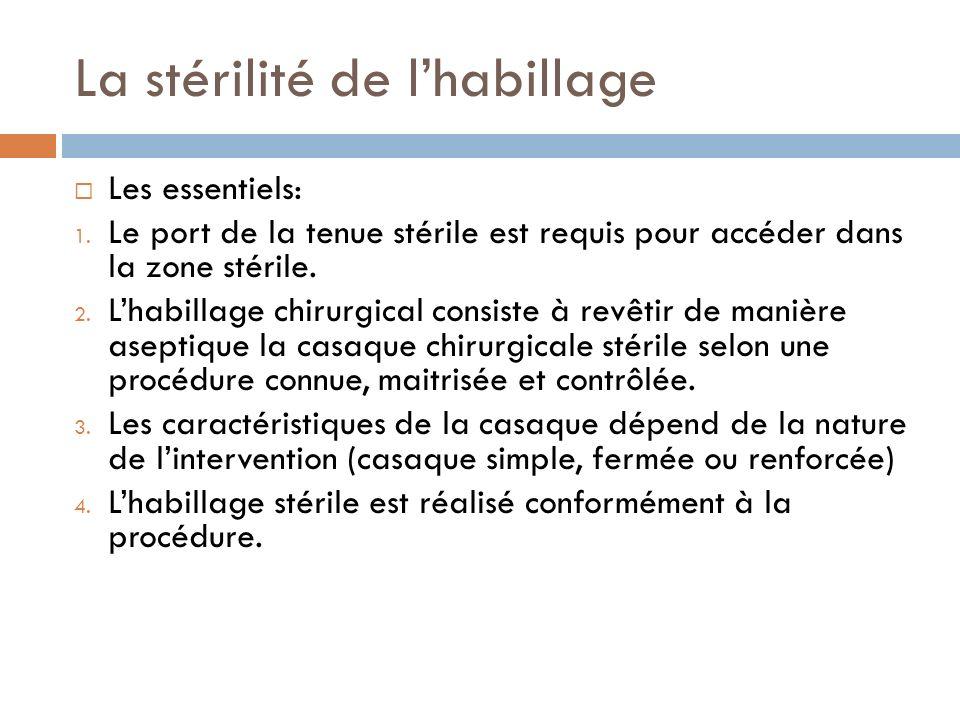 La stérilité de lhabillage Les essentiels: 1. Le port de la tenue stérile est requis pour accéder dans la zone stérile. 2. Lhabillage chirurgical cons