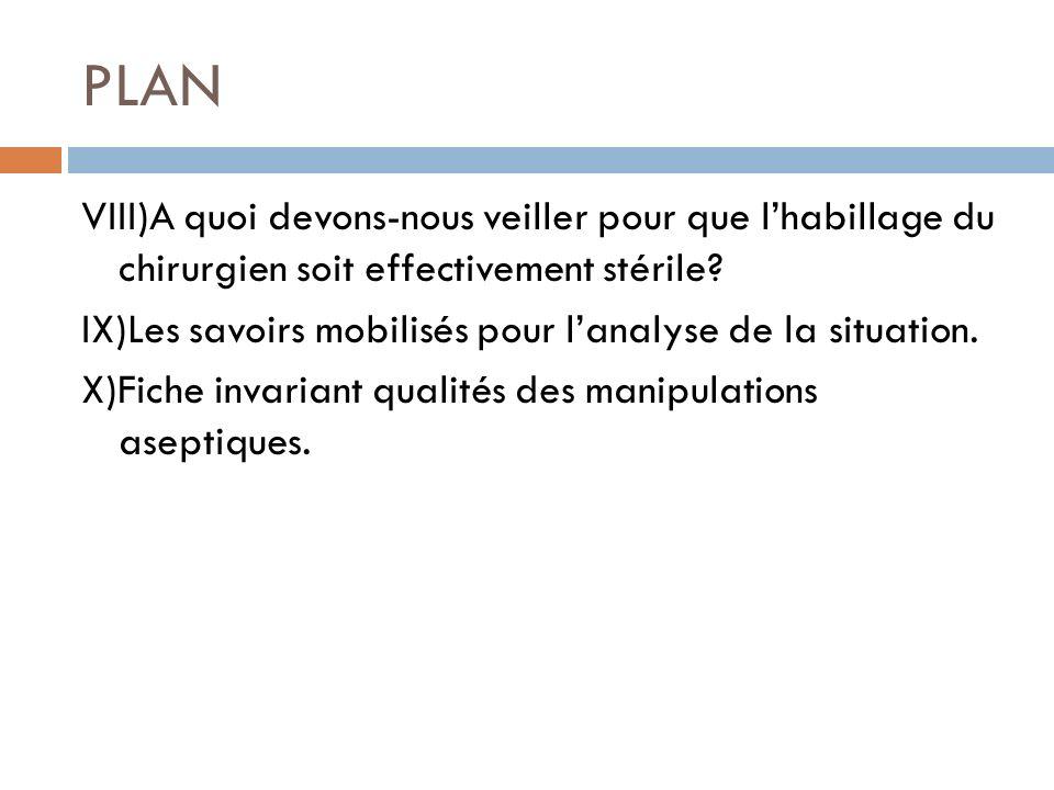 PLAN VIII)A quoi devons-nous veiller pour que lhabillage du chirurgien soit effectivement stérile? IX)Les savoirs mobilisés pour lanalyse de la situat