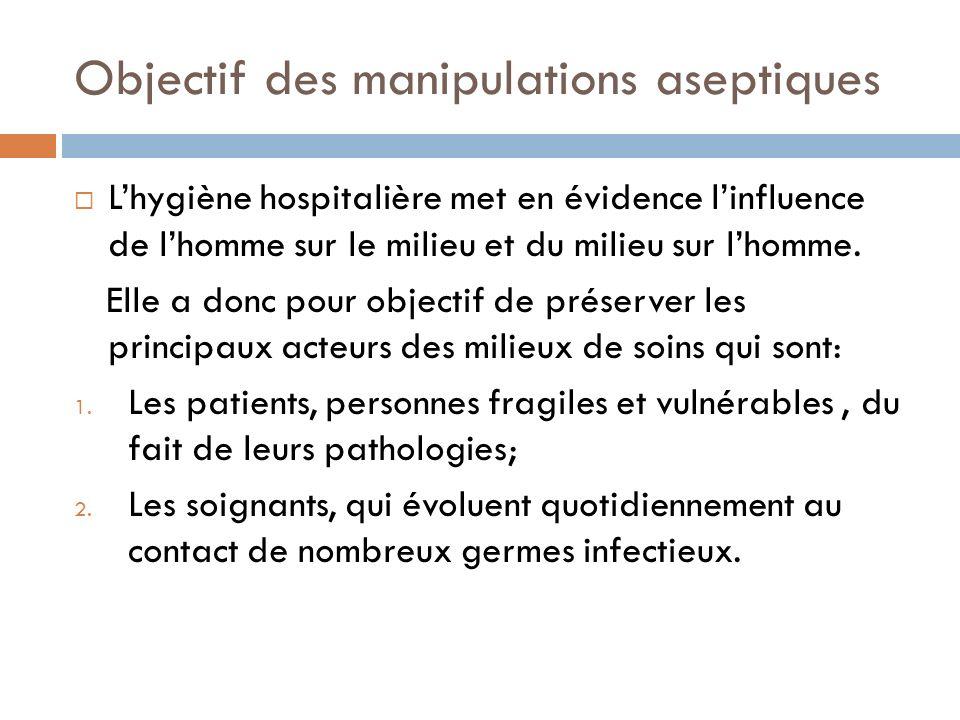 Objectif des manipulations aseptiques Lhygiène hospitalière met en évidence linfluence de lhomme sur le milieu et du milieu sur lhomme. Elle a donc po