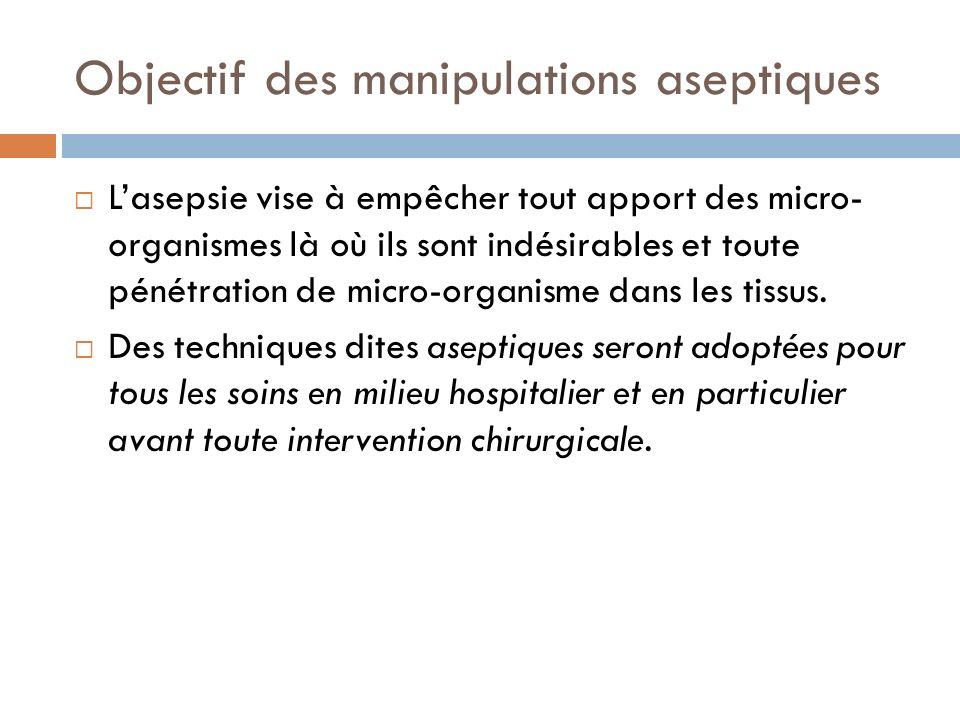 Objectif des manipulations aseptiques Lasepsie vise à empêcher tout apport des micro- organismes là où ils sont indésirables et toute pénétration de m