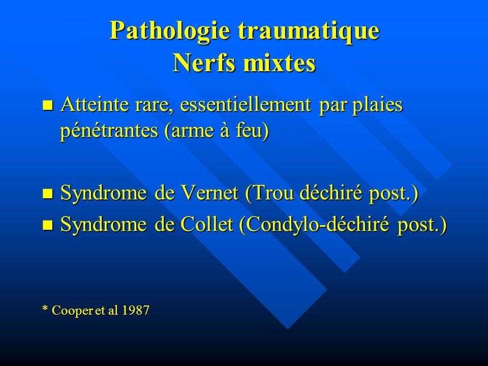 Pathologie traumatique Nerfs mixtes Atteinte rare, essentiellement par plaies pénétrantes (arme à feu) Atteinte rare, essentiellement par plaies pénét