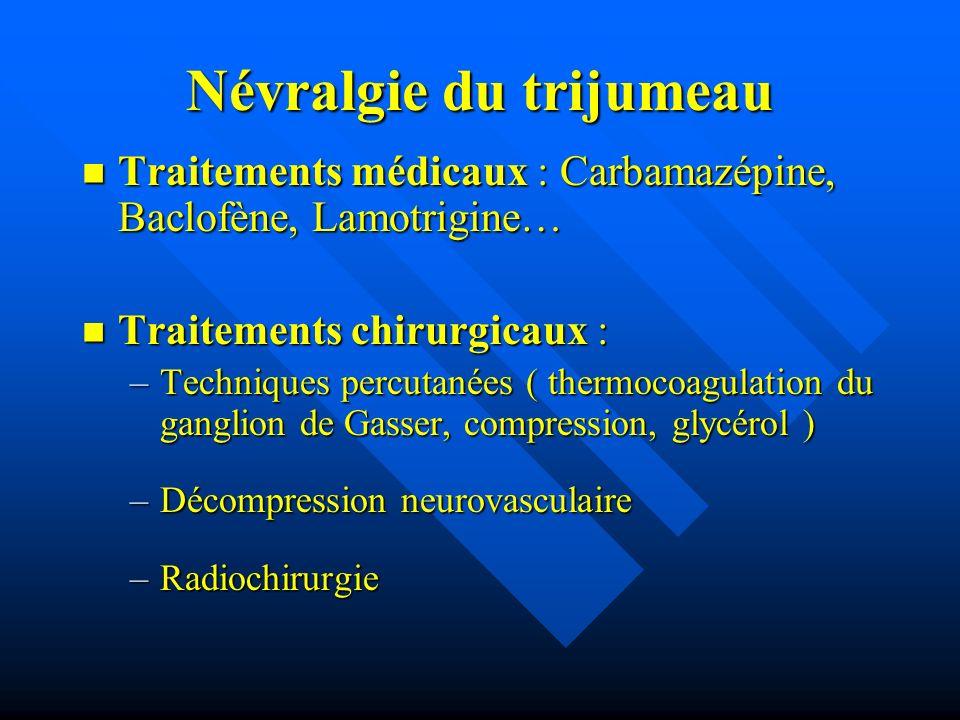 Névralgie du trijumeau Traitements médicaux : Carbamazépine, Baclofène, Lamotrigine… Traitements médicaux : Carbamazépine, Baclofène, Lamotrigine… Tra
