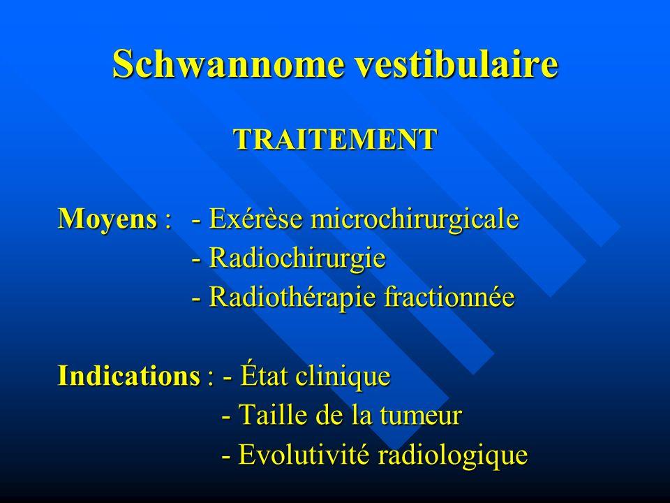Schwannome vestibulaire TRAITEMENT Moyens : - Exérèse microchirurgicale - Radiochirurgie - Radiochirurgie - Radiothérapie fractionnée Indications : -