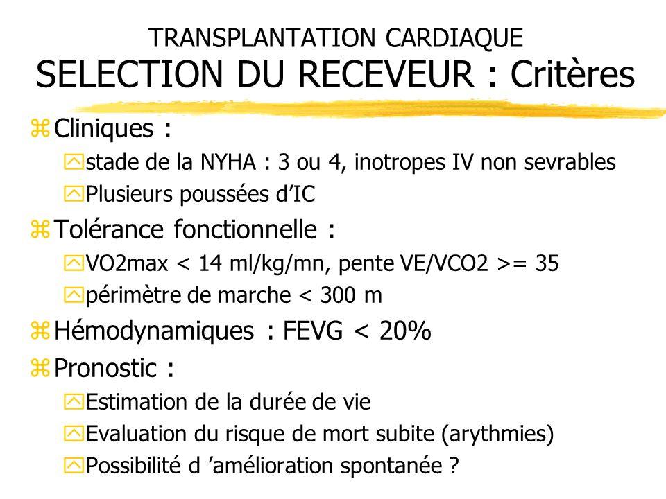 TRANSPLANTATION CARDIAQUE SELECTION DU RECEVEUR : Critères zCliniques : ystade de la NYHA : 3 ou 4, inotropes IV non sevrables yPlusieurs poussées dIC