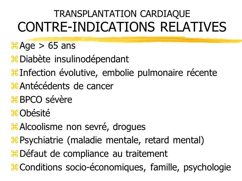 TRANSPLANTATION CARDIAQUE CONTRE-INDICATIONS RELATIVES zAge > 65 ans zDiabète insulinodépendant zInfection évolutive, embolie pulmonaire récente zAnté