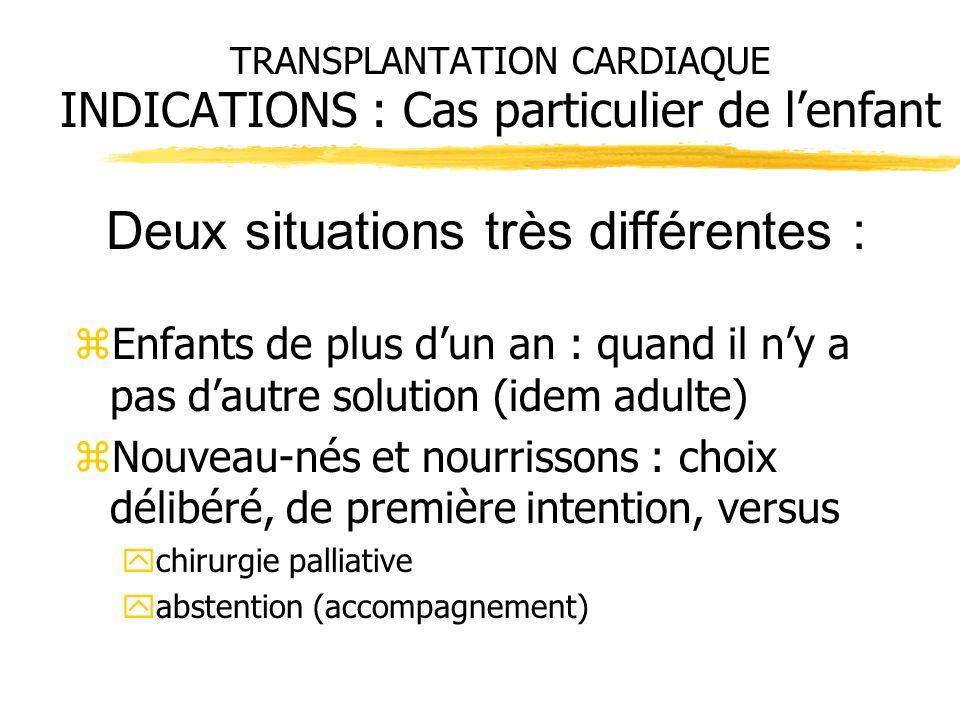 TRANSPLANTATION CARDIAQUE INDICATIONS : Cas particulier de lenfant zEnfants de plus dun an : quand il ny a pas dautre solution (idem adulte) zNouveau-