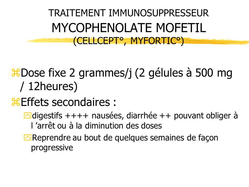 TRAITEMENT IMMUNOSUPPRESSEUR MYCOPHENOLATE MOFETIL (CELLCEPT°, MYFORTIC°) zDose fixe 2 grammes/j (2 gélules à 500 mg / 12heures) zEffets secondaires :