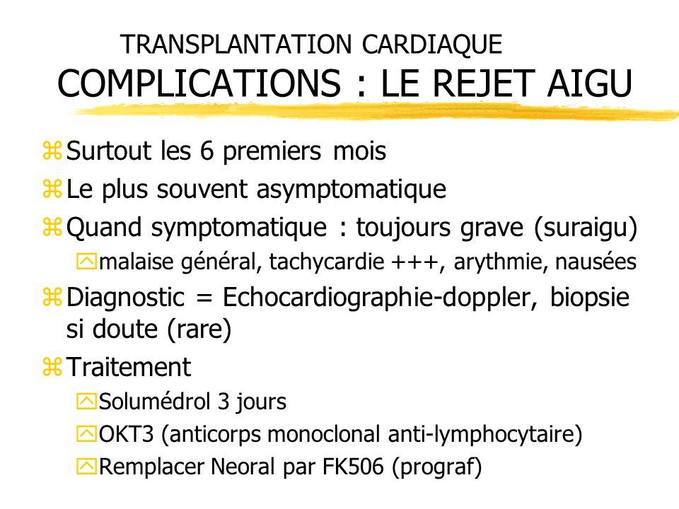 TRANSPLANTATION CARDIAQUE COMPLICATIONS : LE REJET AIGU zSurtout les 6 premiers mois zLe plus souvent asymptomatique zQuand symptomatique : toujours g