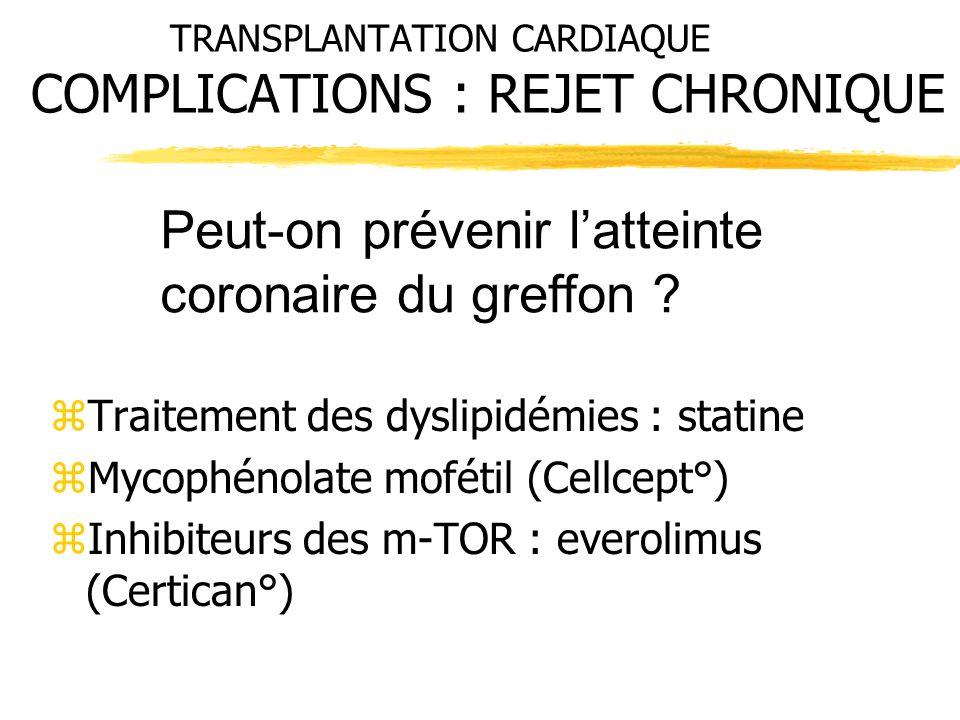TRANSPLANTATION CARDIAQUE COMPLICATIONS : REJET CHRONIQUE zTraitement des dyslipidémies : statine zMycophénolate mofétil (Cellcept°) zInhibiteurs des