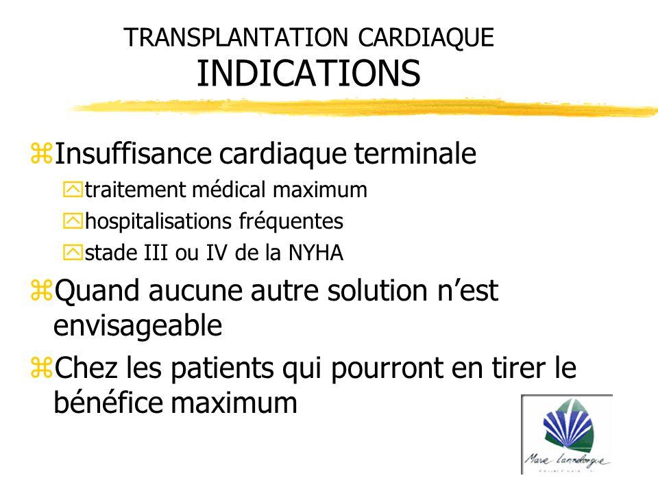 TRANSPLANTATION CARDIAQUE INDICATIONS zInsuffisance cardiaque terminale ytraitement médical maximum yhospitalisations fréquentes ystade III ou IV de l