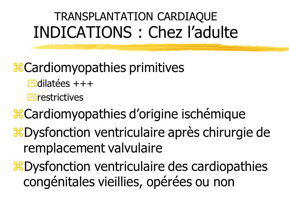 TRANSPLANTATION CARDIAQUE INDICATIONS : Chez ladulte zCardiomyopathies primitives ydilatées +++ yrestrictives zCardiomyopathies dorigine ischémique zD