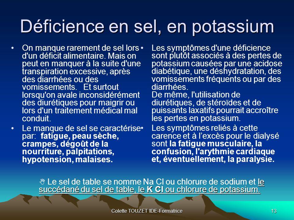 Colette TOUZET IDE-Formatrice13 Déficience en sel, en potassium On manque rarement de sel lors d un déficit alimentaire.