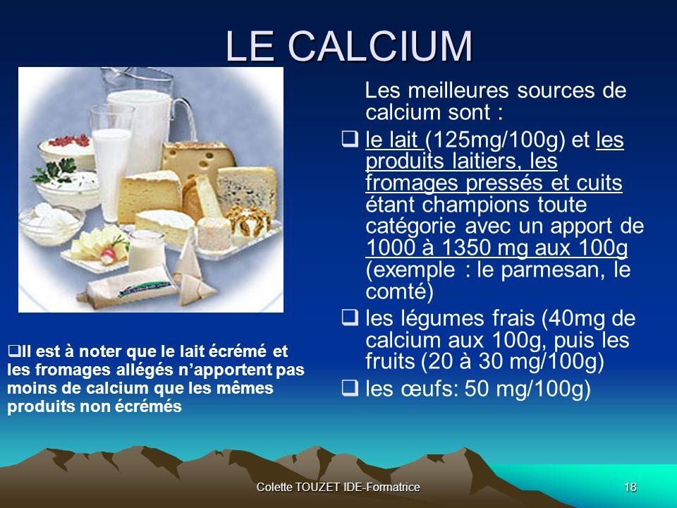 Colette TOUZET IDE-Formatrice18 LE CALCIUM Les meilleures sources de calcium sont : le lait (125mg/100g) et les produits laitiers, les fromages pressés et cuits étant champions toute catégorie avec un apport de 1000 à 1350 mg aux 100g (exemple : le parmesan, le comté) les légumes frais (40mg de calcium aux 100g, puis les fruits (20 à 30 mg/100g) les œufs: 50 mg/100g) Il est à noter que le lait écrémé et les fromages allégés napportent pas moins de calcium que les mêmes produits non écrémés