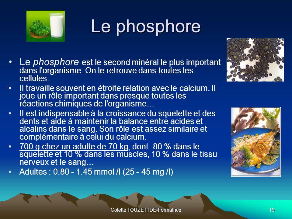 Colette TOUZET IDE-Formatrice19 Le phosphore Le phosphore est le second minéral le plus important dans l organisme.