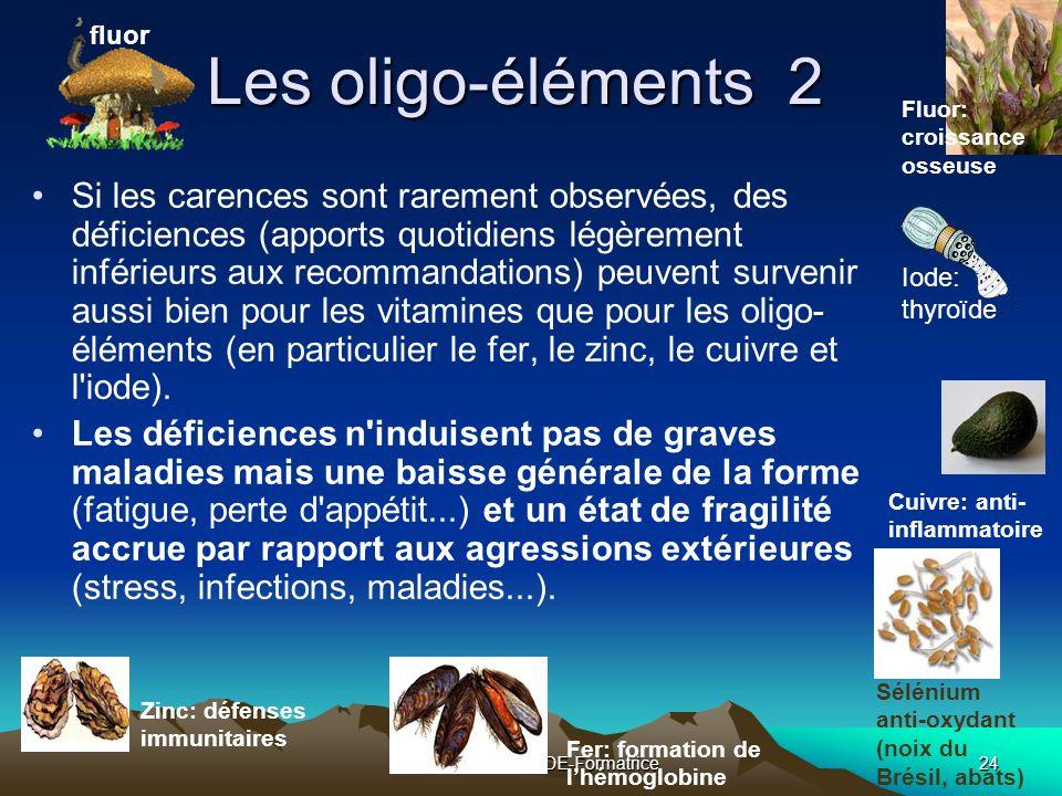 Colette TOUZET IDE-Formatrice24 Les oligo-éléments 2 Si les carences sont rarement observées, des déficiences (apports quotidiens légèrement inférieurs aux recommandations) peuvent survenir aussi bien pour les vitamines que pour les oligo- éléments (en particulier le fer, le zinc, le cuivre et l iode).