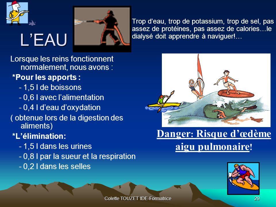 Colette TOUZET IDE-Formatrice29 Danger : Risque dœdème aigu pulmonaire .