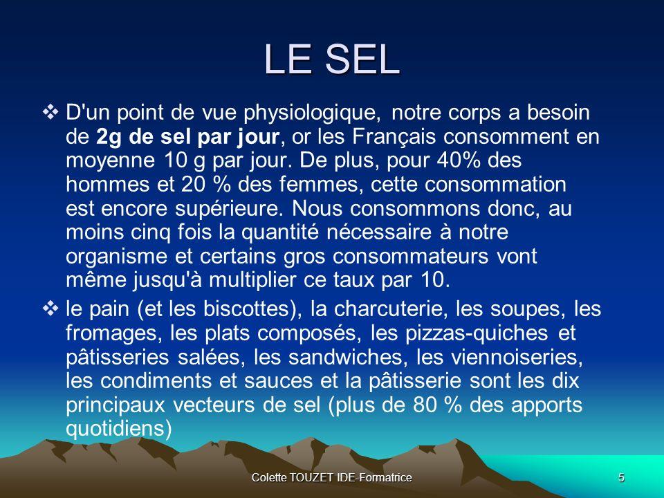 Colette TOUZET IDE-Formatrice5 LE SEL D un point de vue physiologique, notre corps a besoin de 2g de sel par jour, or les Français consomment en moyenne 10 g par jour.