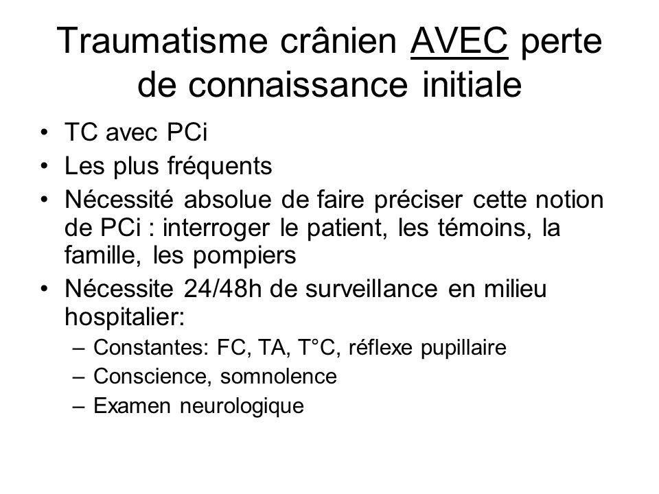TC avec PCI Jamais de radio de crâne si pas de suspicion de fractures du massif facial Palpation du cuir chevelu à la recherche: –Plaie –Hématome –Œdème