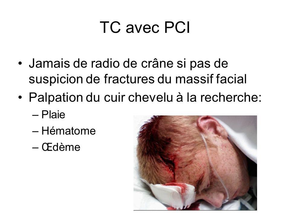 TC avec PCI SCANNER CEREBRAL EN URGENCE SI à lentrée ou apparition lors de la surveillance de : –Céphalées, nausées ou vomissements –Somnolence –Propos incohérents –Troubles moteurs –Bradycardie –mydriase