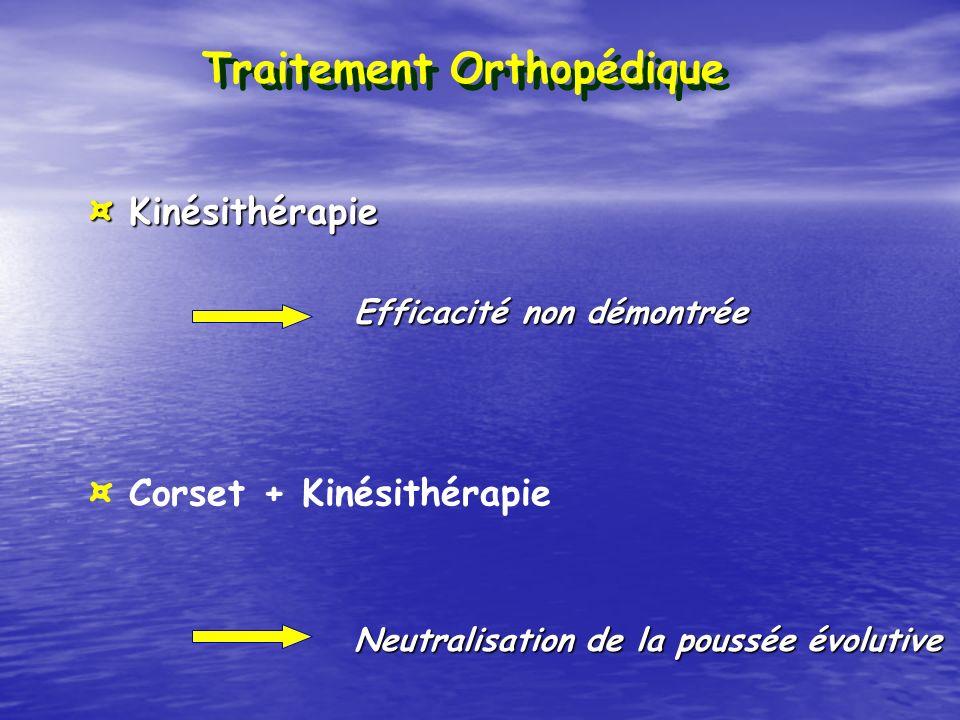 ¤ Corset + Kinésithérapie ¤ Kinésithérapie Traitement Orthopédique Efficacité non démontrée Neutralisation de la poussée évolutive