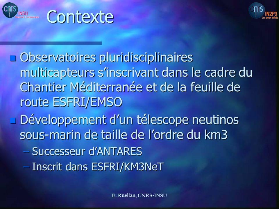 Contexte n Observatoires pluridisciplinaires multicapteurs sinscrivant dans le cadre du Chantier Méditerranée et de la feuille de route ESFRI/EMSO n D