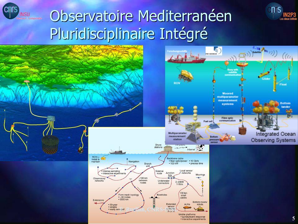 4 volets n construction dun bâtiment de 2000m2 (coût construction 8,35 M): –activités interdisciplinaires mutualisées de technologies marines et sous- marines –mise en œuvre de lObservatoire pluridisciplinaire sous-marin profond permanent –base opérationnelle dappui pour MISTRALS (Chantier Méditerranée) interdisciplinaire et inter-organisme n déploiement dun nouveau réseau mutualisé (coût matériel 4,8 M) –connexions sous-marines reliées à la terre, –conception modulaire permettant de le faire évoluer pour lutiliser pour les besoins dun télescope a neutrinos de taille kilométrique KM3, de mesures denvironnement marin n lignes de détection pour les neutrinos (coût matériel 8,85 M) –étape de pré-industrialisation du télescope à neutrinos de taille kilométrique préconisé par ESFRI n lignes instrumentées pour les sciences environnementales (coût matériel 1 M) E.